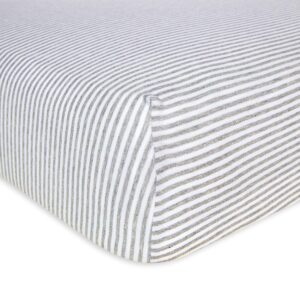 Burt's Bees Baby - Fitted Crib Sheet (Heather Grey Thin Stripes)
