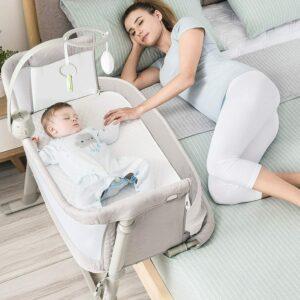 RONBEI Bedside Sleeper Baby Bed Cribs
